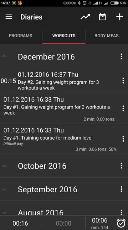 GymUp Pro workout notebook 1