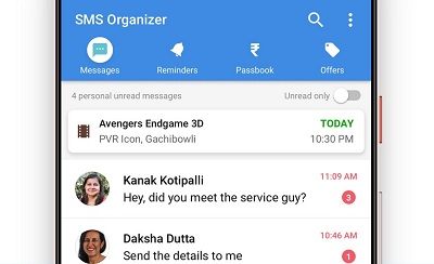 SMS Organizer Clean Reminders Offers Backup