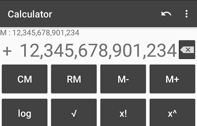 Calculator with many digit Long number